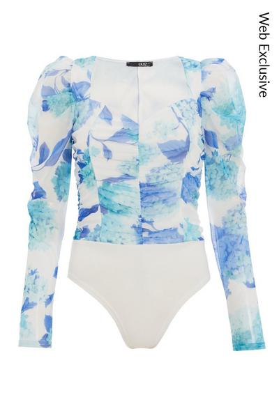 Blue & White Floral Puff Sleeve Bodysuit